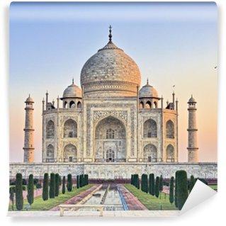 Taj Mahal bench at sunrise Wall Mural - Vinyl