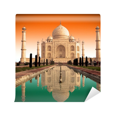 taj mahal et drapeau indien wall mural pixers we live to change. Black Bedroom Furniture Sets. Home Design Ideas