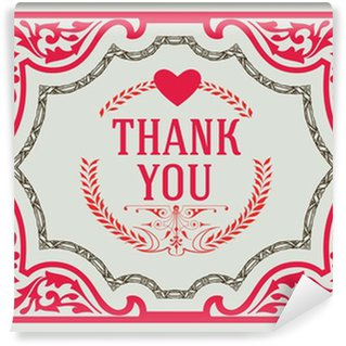 Wall Mural - Vinyl Thank You Vintage Greeting Card design template. Thank You Card,