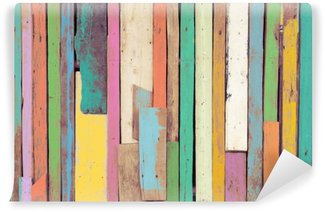 Wall Mural - Vinyl The colorful artwork painted on wood material for vintage wallpaper background.
