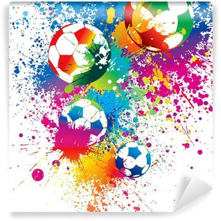 Vinyl Wall Mural The colorful footballs on a white background