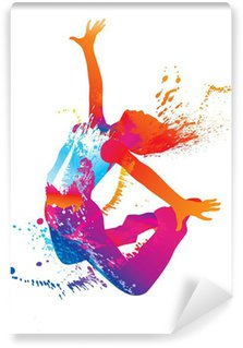 The dancing girl with colorful spots and splashes on white Wall Mural - Vinyl