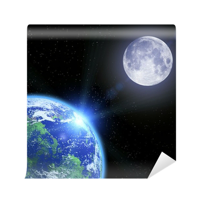 The earth the moon and stars in space wall mural pixers for Earth moon wall mural