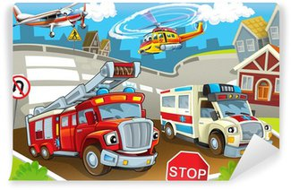 The vehicles in city, urban chaos Wall Mural - Vinyl