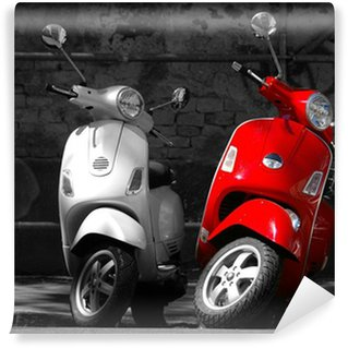 This is two motorcycles in the city. Wall Mural - Vinyl