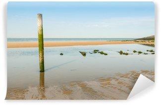 Wall Mural - Vinyl Tilted wooden pole on the beach