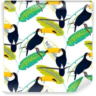 Wall Mural - Vinyl Toco toucan bird on banana leaves seamless vector pattern on white background. Tropical jungle leaf and exotic bird sitting on branch.