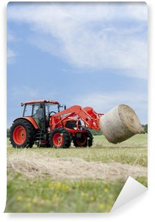 Wall Mural - Vinyl Tractor Hauling Round Bale