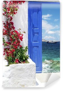 Traditional greek door on Mykonos island, Greece