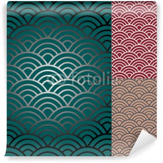 Traditional japanese ornamental pattern- seigaiha. Vector format Wall Mural - Vinyl