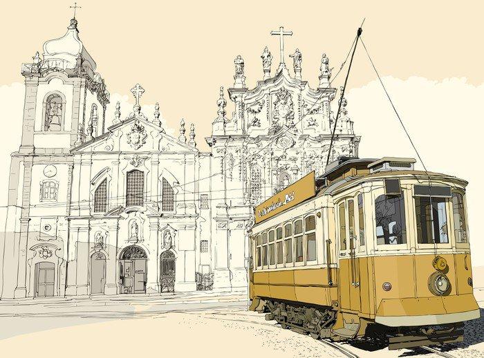 Vinyl Wall Mural tramway in Porto -