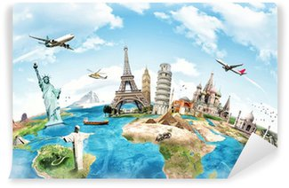 Wall Mural - Vinyl Travel the world monument concept