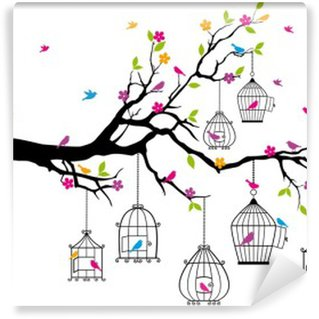 Wall Mural - Vinyl tree with birds and birdcages, vector