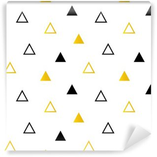 Trendy black and gold triangles on white seamless pattern background.