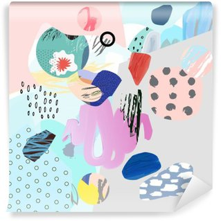Trendy creative collage with different textures and shapes. Modern graphic design. Unusual artwork. Vector. Isolated Wall Mural - Vinyl