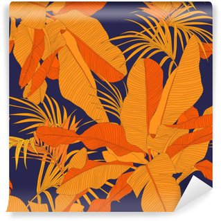 trendy tropical fabric seamless pattern, red palm leaves on dark navy background, vector illustration Vinyl Wall Mural