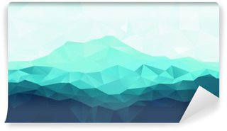 Wall Mural - Vinyl Triangle geometrical background with blue mountain