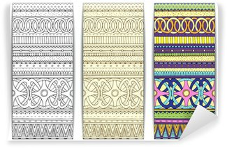 Wall Mural - Vinyl Tribal texture. Series of image Template frame design for card.