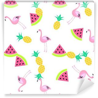 Wall Mural - Vinyl Tropic summer seamless white pattern with watermelon, flamingo and pineapples. Pink and yellow fun pattern.