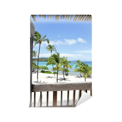Tropical beach view from deck wall mural pixers we for 18th floor balcony live