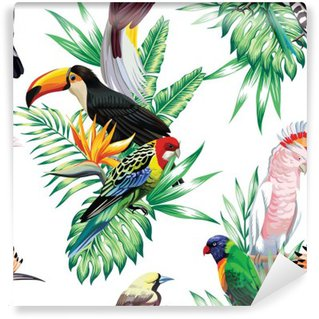 tropical birds and palm leaves pattern Wall Mural - Vinyl