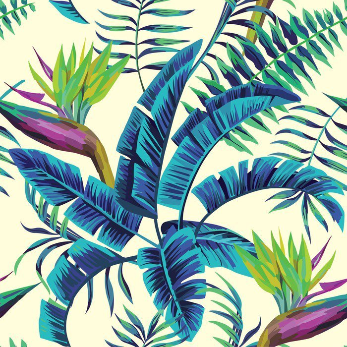 Vinyl Wall Mural tropical exotic painting seamless background -