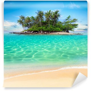 Tropical island and sand beach exotic travel background Wall Mural - Vinyl