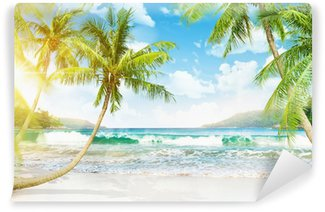 Tropical island with palm trees Wall Mural - Vinyl