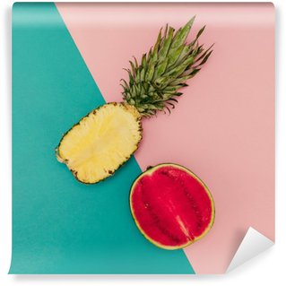 Wall Mural - Vinyl Tropical Mix. Pineapple and Watermelon. minimal Style