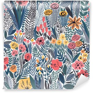 Wall Mural - Vinyl Tropical seamless floral pattern