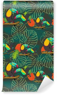 Tropical toucan seamless vector pattern