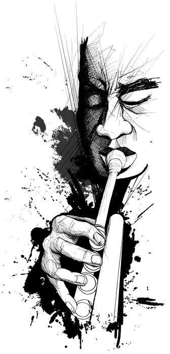Wall Mural - Vinyl Trumpet player - Jazz