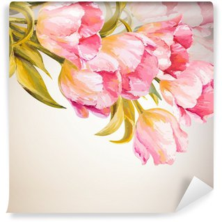 Wall Mural - Vinyl Tulips. Spring flowers invitation template card