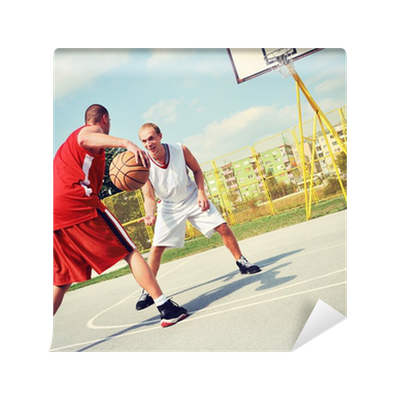 Two basketball players on the court wall mural pixers for Basketball court wall mural