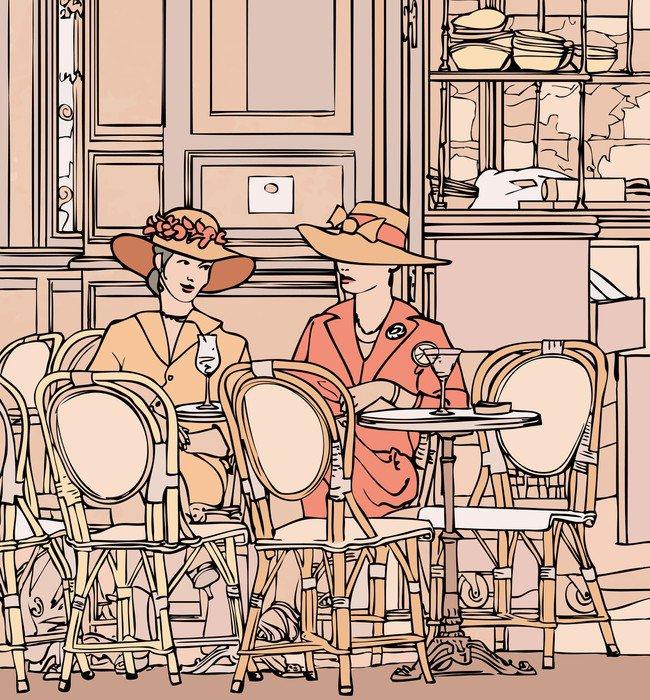 Wall Mural - Vinyl two elegant parisian women having cocktail in a cafe - Fashion