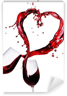 Wall Mural - Vinyl Two Glasses of Red Wine Abstract Heart Splash