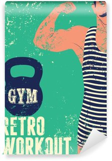 Typographic Gym vintage grunge poster design with strong man. Retro vector illustration. Wall Mural - Vinyl