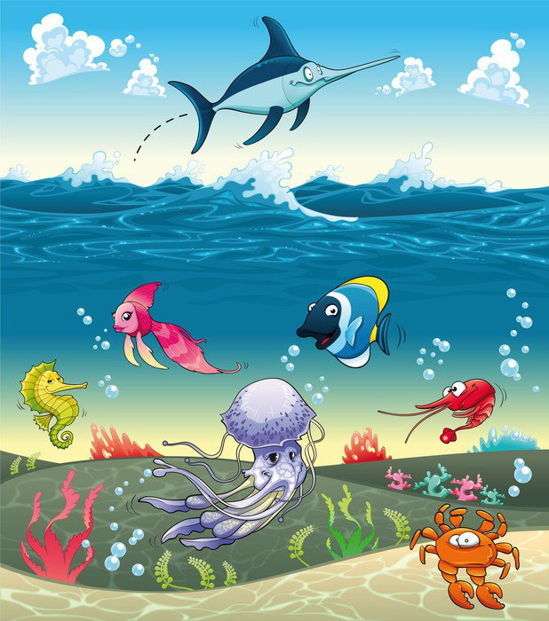 Under The Sea With Fish And Other Animals Vector Illustratio 37057240