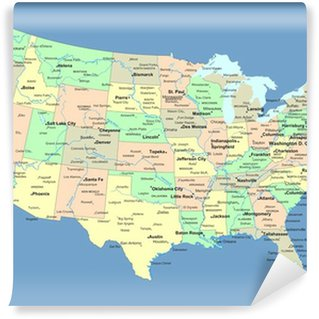 Vinyl Wall Mural USA map with names of states and cities