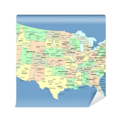 USA Map With Names Of States And Cities Wall Mural Pixers We - Usa map with states and cities name