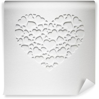 Wall Mural - Vinyl Valentine day heart made of small hearts on paper card