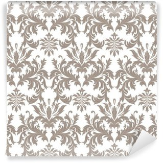 Wall Mural - Vinyl Vector Baroque Vintage floral Damask pattern. Luxury Classic ornament, Royal Victorian texture for wallpapers, textile, fabric. Brown color