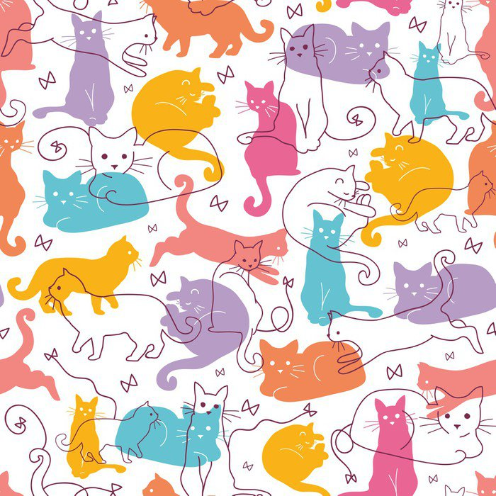 vector colorful cats seamless pattern background cute