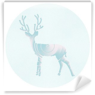 Wall Mural - Vinyl Vector deer with horns - abstract illustration