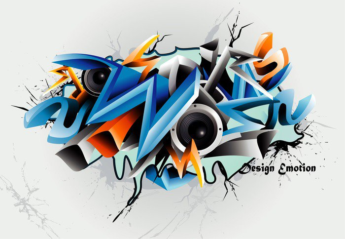 Vector graffiti illustration vinyl wall mural pixers for Mural vector