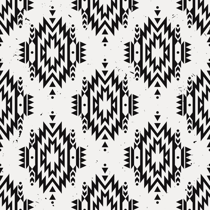 Vector grunge monochrome seamless decorative ethnic for Mural vector