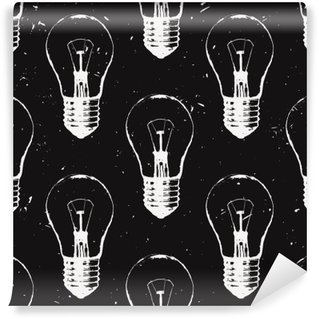 Vector grunge seamless pattern with light bulbs. Modern hipster sketch style. Idea and creative thinking concept. Wall Mural - Vinyl