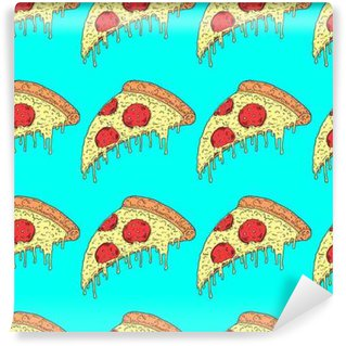 Vector hand drawn illustration melting slice of pizza pepperoni