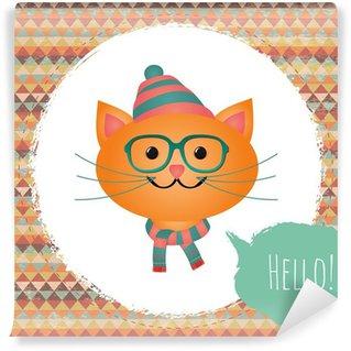 Vector Hipster Cat greeting card design illustration Wall Mural - Vinyl