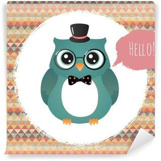 Vector Hipster Owl greeting card design illustration Wall Mural - Vinyl